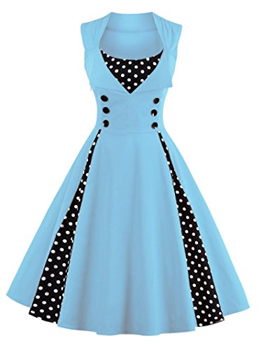 Light Sleeveless Dots Party Polka Women's Forefront Blue 1950s Cocktail Vogue Vintage Dress Zw7Fqxv