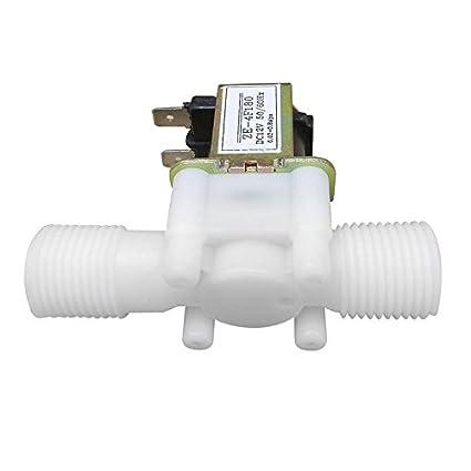 SODIAL 12 V 1/2 pulgada N / C Valvula solenoide electrica de plastico Aire