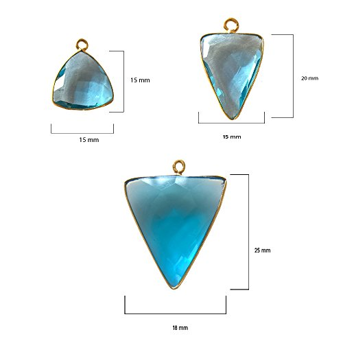 (4 Pcs Blue Topaz Triangle Beads 15mm 24K gold vermeil by BESTINBEADS, Blue Topaz Hydro Quartz Triangle Pendant Bezel Gemstone Connectors over 925 sterling silver bezel jewelry making supplies)