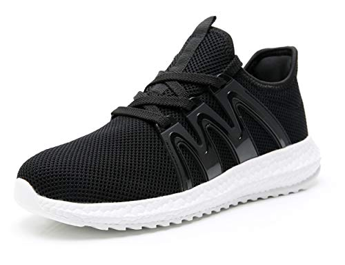 Azooken Men's Athletic Tennis Racquetball Running Shoes Casual Walking Shoes for Men Baseball Cycling BWT41 Black/White