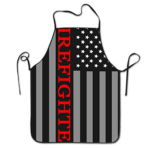 (WEIQUN Firefighter Red Line Flag Unisex Kitchen Bib Apron Barbecue Tea Shop with Adjustable Neck Chef's)