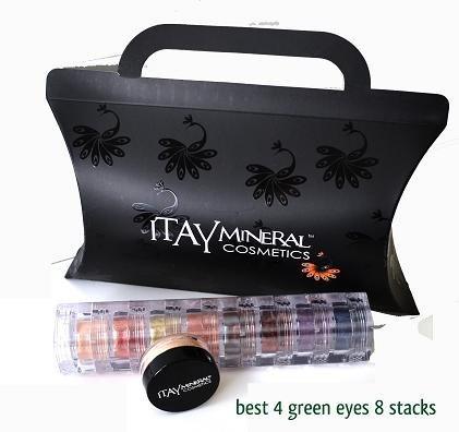"""Itay Mineral belleza sombra de ojos 8 pilas Resplandece color: """"Mejor 4 verde"""""""