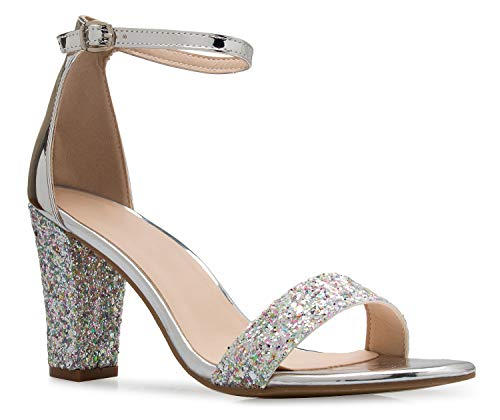 (OLIVIA K Women's Sexy Dress Shoes - Open Toe Glitter Rhinestone Block Heel Sandals - Buckle, Zipper Silver Multi)