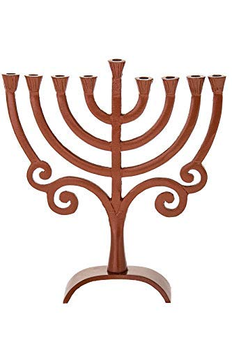 (Legacy Judaica Round Brown Metal Menorah for Chanukah - for Standard Hanukkah Candles - Rounded Branches Menora Style - 8.5