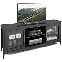 CorLiving TFP-604-B Jackson Extra Wide TV Bench, 80, Black Wood Grain