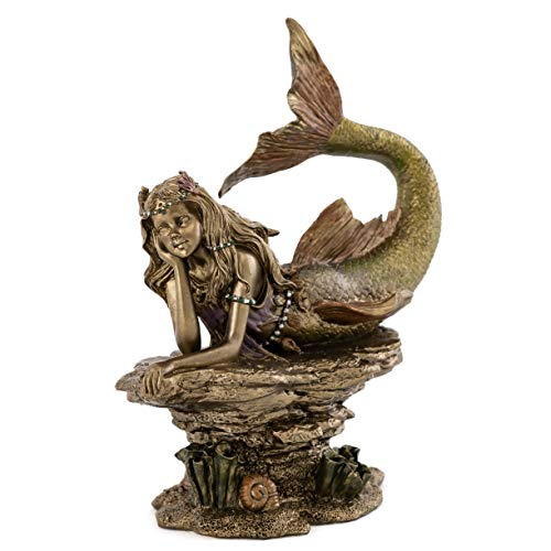 Top Collection Daydreaming Mermaid Statue- Hand-Painted Decorative Thinking Mermaid Sculpture with Antique Bronze Finish Look- 6.75-Inch Collectible Fantasy Figurine