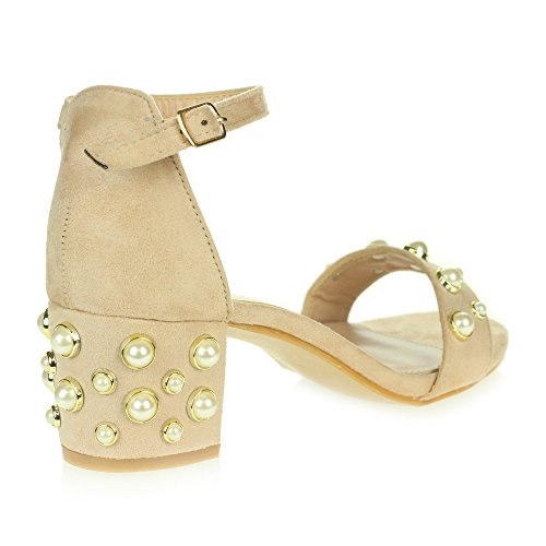 AARZ LONDON Womens Ladies Evening Party Prom Casual Comfort Pearl Beaded Medium Block Heel Ankle Strap Sandals Shoes Nude bpu2xjUL