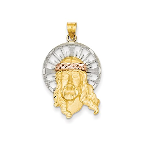 ICE CARATS 14k Tri Color Yellow White Gold Christ Pendant Charm Necklace Religious Medal Jesus Fine Jewelry Gift Set For Women (Tri Color Religious Charm Medal)