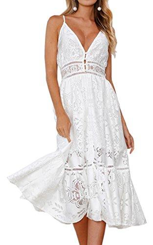Angashion Women's Dresses-Summer Sexy Lace Deep V Neck Spaghetti Strap Swing Midi (Summer Crochet)