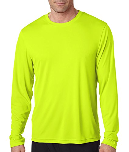 Hanes Men's Long Sleeve Cool Dri T-Shirt UPF 50+, Large, 2 Pack ,1 Black / 1 Safety Green ()