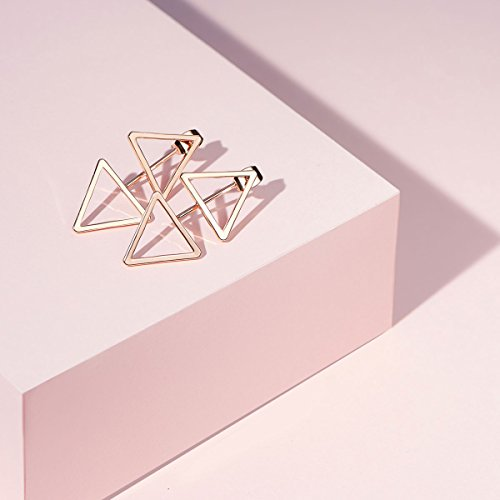 SWEETIEE - Boucles d'Oreilles Plaque 18K Or Rose, Pendantes Doubles Triangles, Or Rose, 32mm