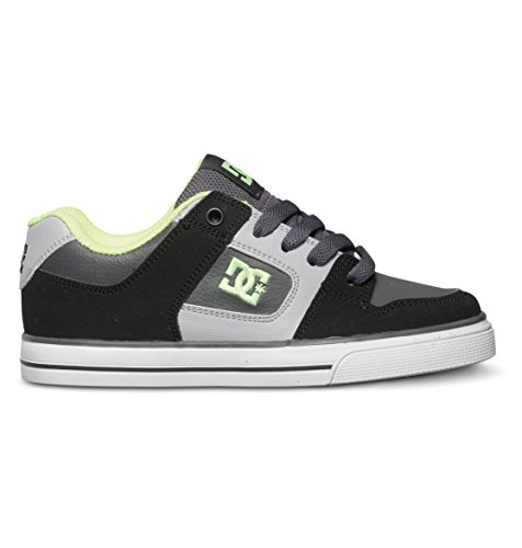 DC Pure Skate Shoe (Little Kid/Big Kid),Black/Grey/Yellow,2.5 M US Little Kid