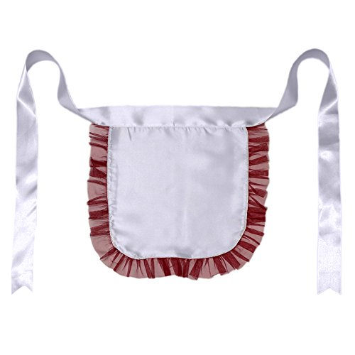 [Nurse or Maid Apron with Red Lace Ruffles ~ Halloween Costume Accessory] (Nurse Costumes For Teens)