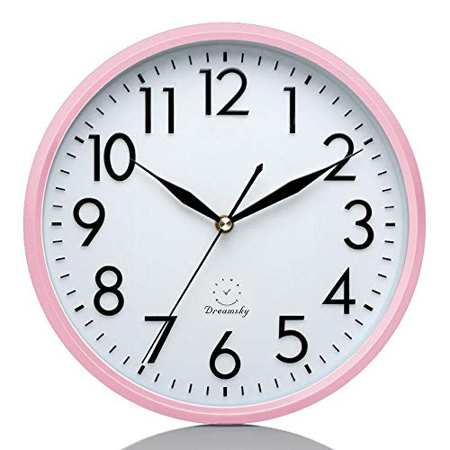 DreamSky 10 Inches Silent Wall Clock, Battery Operated, Non-Ticking Decorative Indoor Kitchen Round Clock, 3D Numbers Display, Nice Pink Quiet Wall Clock for Kids/Girls/Nursery ()
