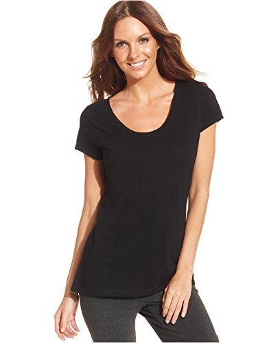 Style & Co. Sport Womens Slub Short Sleeve Shirts & Tops Black M