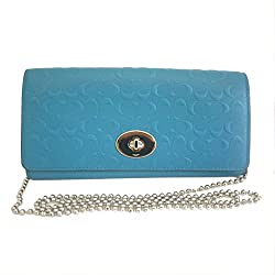Coach Embossed Slim Envelop Wallet on Chain Purse Cross Body Bag (Teal)