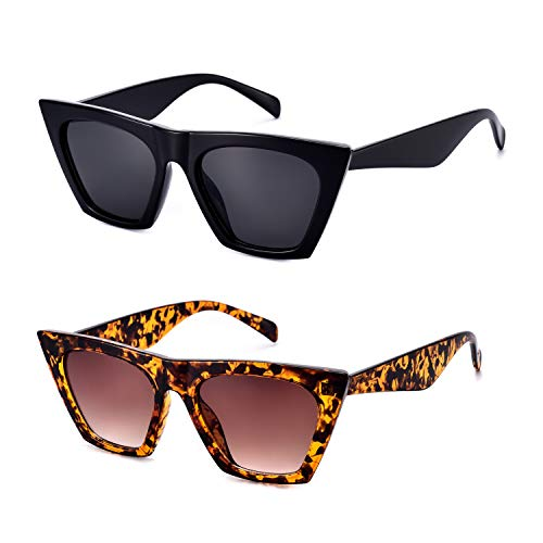 Mosanana Square Cateye Sunglasses for Women 2019 Trendy Fashion Black Tortoise Demi 2 Pack Retro Vintage Cat Eye Ladies Unique Thick Shade Sun Glasses Small Mod Chic gafas lentes de sol de para mujer (Square Sunglasses)