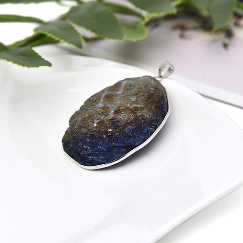 (TAFAE 4 Natural Pendants Women Necklace Drop Pendant Clasp DIY Necklaces Gift Decoration - Metal Color:Blue and Brown )