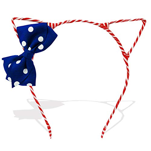 (Cute Red White and Blue Cat Ears Headband with Bow 4th of July Memorial Day Accessory)
