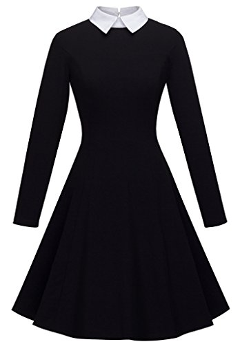 HOMEYEE Women's Doll Collar Wear to Work Swing A-Line Party Casual Dress A016 (10, Black) -