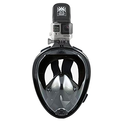 H2O Ninja 180° View Full Face Snorkel Mask - Free Breathing Design w Anti-Fog & Anti-Leak - GoPro Edition - Black L/XL