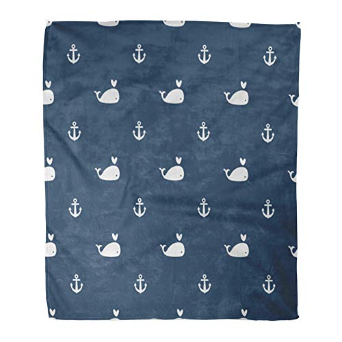 t Warm Cozy Print Flannel Cute Whales on Blue Anchors Sea Pattern Summer Aquatic Comfortable Soft for Bed Sofa and Couch 60x80 Inches ()