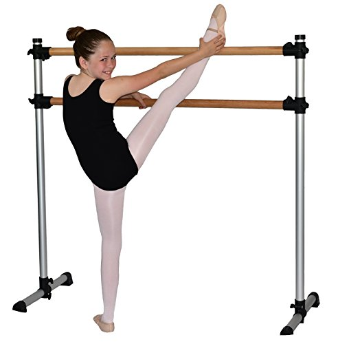 (Traditional Real Wood Portable Double Freestanding 4 Foot Ballet Barre, Stretch/Dance Bar, 4 Feet Fitness Barre - 29 inch Base)
