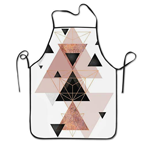 COLOMAKE Geometric Triangles Rose Gold White Bib Apron Waterproof Event Party BBQ Cooking Kitchen Aprons for Women Men Adults Chef -