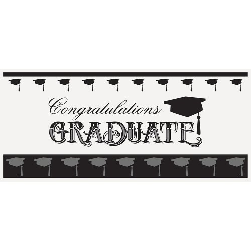 "Classic Graduation Party Wall Banner & Photo Booth Prop, 60"" x 27"""