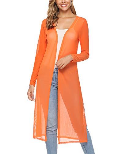 Abollria Women's Long Sleeve Open Front Drape Duster Maxi Long Cardigan Orange