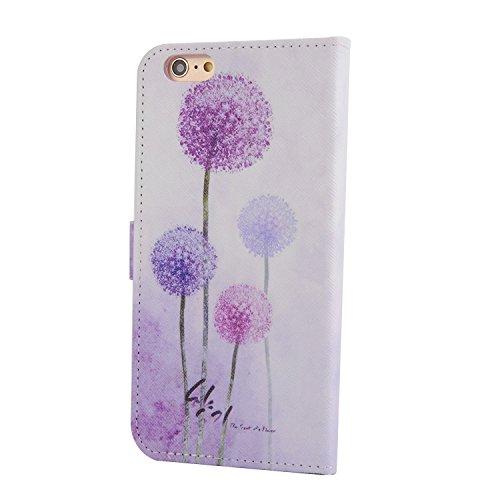 Für Apple iPhone 6 plus (5.5 Zoll) Tasche ZeWoo® Ledertasche Strass Hülle PU Leder Schutzhülle Glitzer Case Cover - XX024 / Bling-Löwenzahn