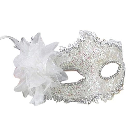 Pixnor Masquerade Mask Lace Face Mask with Lily Flower Crystal Rhinestones Decor for Halloween Costume (White) ()