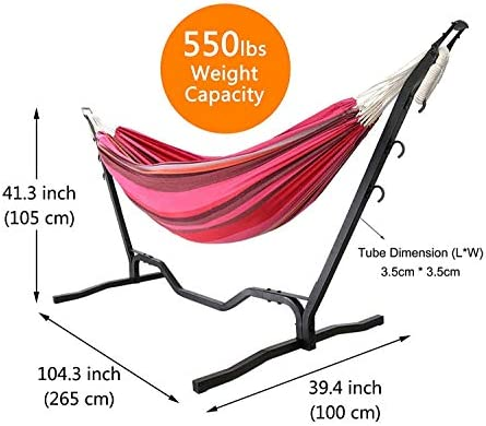 COSWE Double Hammock Stand Powerful Weight Supported Portable Adjustable Hooks Garden Backyard Indoor Outdoor Use Camping Hammock Bed