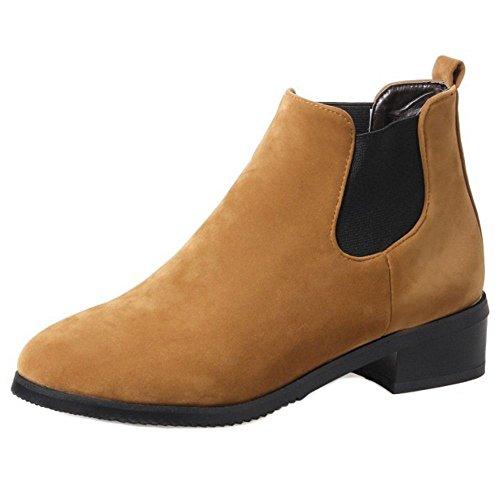 on Yellow Women Brown Slip Boots Chelsea RAZAMAZA w1I6Fq6