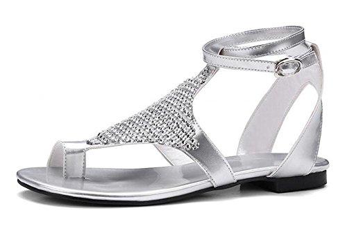 YEEY Sandalias de verano flip flops correas planas tanga t-strap zapatos de perlas sandalias de pedrería para mujeres Silver