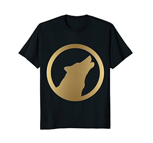 Solid Gold Wolf - Mens Gold Wolf Howling Alpha Pack Leader T Shirt T-Shirt Tshirt XL Black