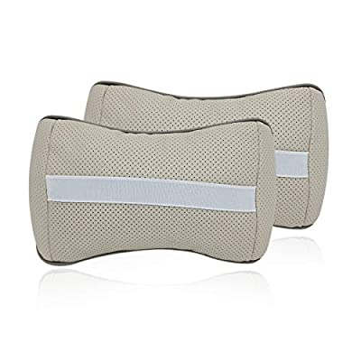Wall Stickz 2 PCS Genuine Leather Bone-Shaped Car Seat Pillow Neck Rest Headrest Comfortable Cushion Pad with Mercedes-Benz Logo Pattern Pillow (Light Grey): Automotive