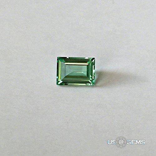 Emerald Green Super light #M785. Baguette cut 8x6mm. 1,6 Ct. Created Loose Gemstone Monosital. @ (Green Amethyst Cut Stone)