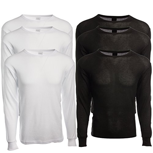 Marco Giovanni (3 Pack Mens Long Sleeve Thermal Tops- Warm Cotton-Poly Crew Neck Layering Shirts