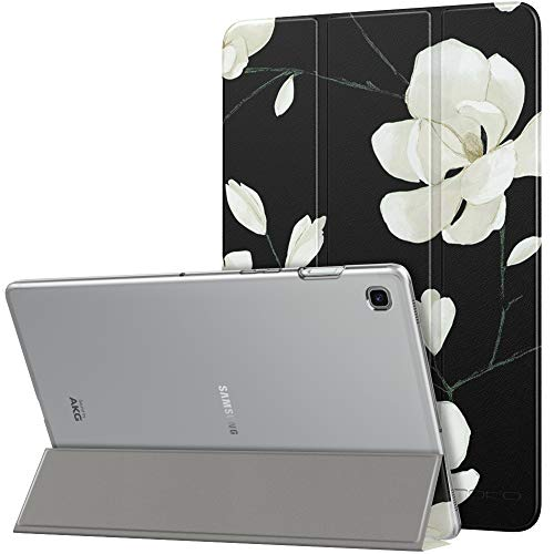 MoKo Case Fit Samsung Galaxy Tab S5e 2019, Ultra Thin Slim Shell Trifold Stand Cover with Frosted Back with Auto Wake & Sleep for Galaxy Tab S5e SM-T720/SM-T725 2019 Tablet - Black & White Magnolia