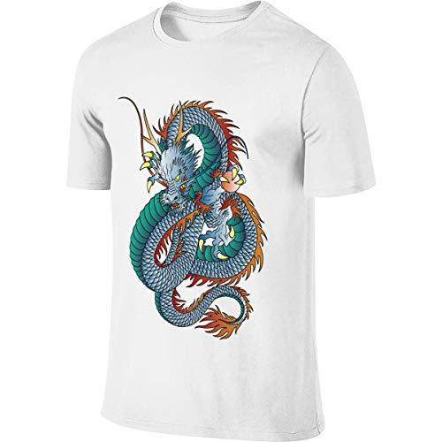 MOWLES Men's Designed Comfortable Top Japanese Style Oriental Dragon Tshirts - Print Oriental Dragon Top