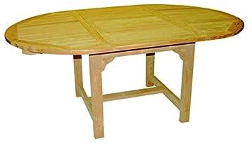 Amazon De Echt Teak Tisch Gartentisch Teaktisch Oval Ausziehbar 180