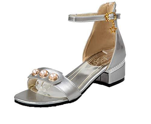 VogueZone009 Women Zipper Patent Leather Open-Toe Low-Heels Zipper Sandals,CCALP014627 Silver