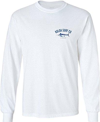 Koloa Surf(tm) Hawaiian Blue Marlin Logo Long Sleeve Shirt-White/c-XL