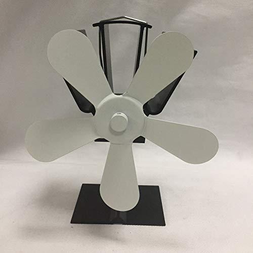 5 Blades Heat Powered Stove Fan Home Silent Heat Powered Stove Fan Ultra Quiet Wood Stove Fan Fireplace Fan - Milky
