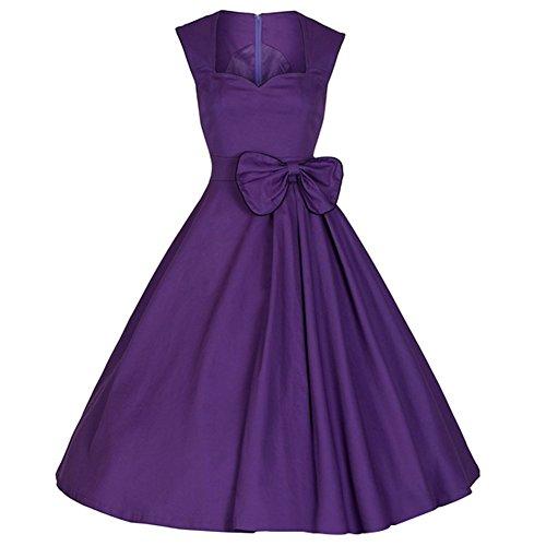 Padgene Vestidos para Mujer Vintage Elegantes Sin Manga Mujer Noche Fiesta Púrpura+lazo