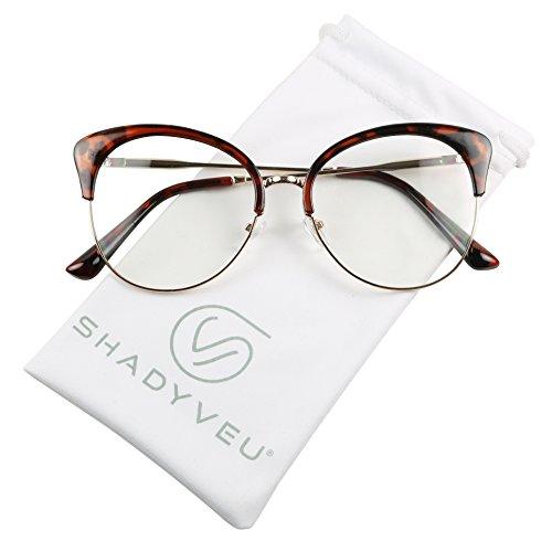 ShadyVEU - Semi Rim Lightweight Cat Eye Oversize XL Clear Lens RX Frame Sun Glasses (Tortoise, - Glasses Real Tortoise Shell