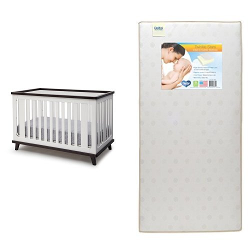 Delta Children Ava 3-in-1 Convertible Crib, White/Black Espresso with Twinkle Stars Crib & Toddler Mattress