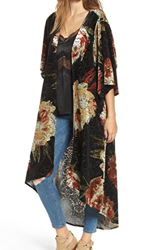 Chicos Velvet - Mimi Chica Womens Burnout Velvet Floral Kimono Sweater Black XS