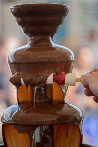 Delicious Chocolate Fondue Fountain on a Table Journal: 150 page lined notebook/diary ()